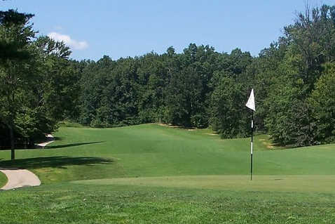 A view of a hole with a narrow path on the left side at Boonville Country Club