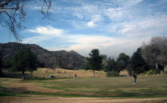 A view of the practice area at Friendly Valley Golf Course