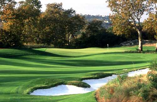 A view from the right side of a fairway at Shady Canyon Golf Club