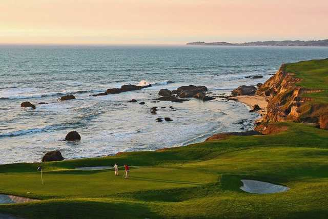 A view of the 18th green at Old Course from Half Moon Bay Golf Links