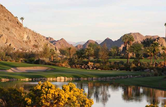 A view of the 17th hole at SilverRock Resort in La Quinta, California.