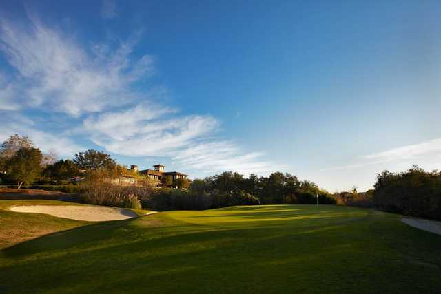 A view of a hole flanked by sand traps at Coto de Caza Golf & Racquet Club