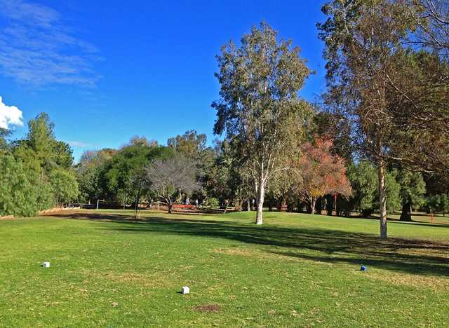A view of the 8th green from tee #9 at Claremont Golf Course