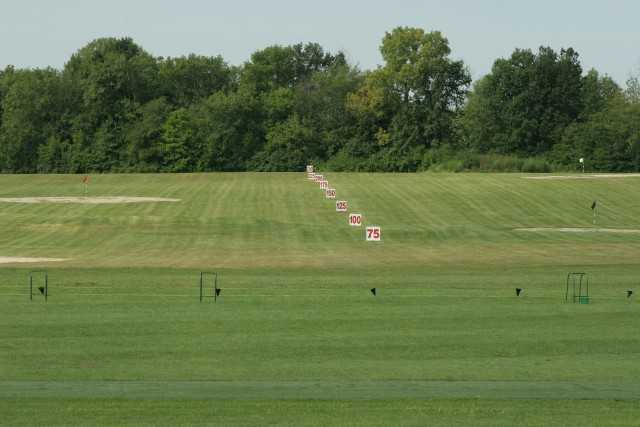 A view of the driving range at Turtle Run Golf Club