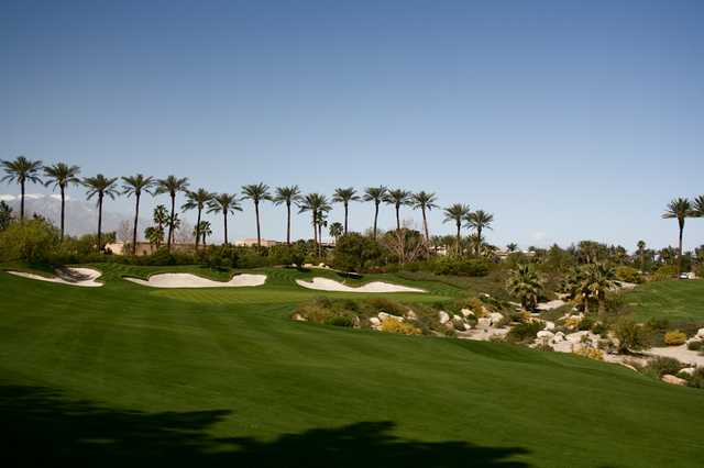 The par-4 18th hole on the Players Course at Indian Wells Golf Resort plays 491 yards from the championship tees