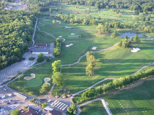 Aerial view of the clubhouse area at Grantwood Golf Course
