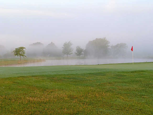 A view of a green with water coming into play at St. Clair Parkway Golf Course