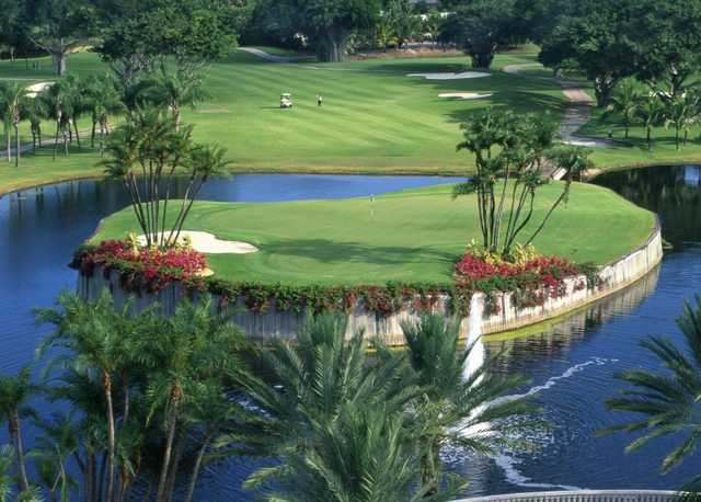The par-4 second hole at the Diplomat Country Club features a signature island green