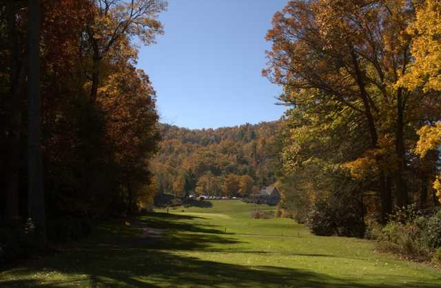 A fall view of a fairway at Boone Golf Club