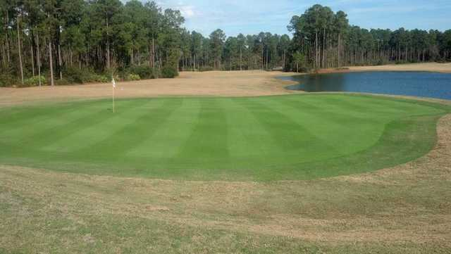 A view of a green at Lakes Golf Course from Laura Walker State Park