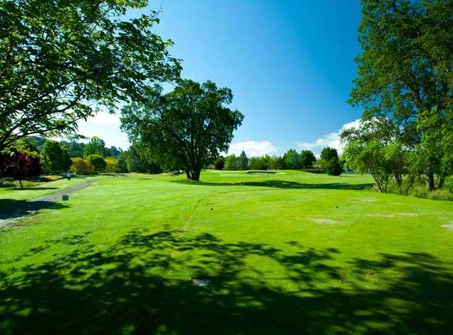 A sunny day view from a tee at Hidden Valley Lake Golf Course