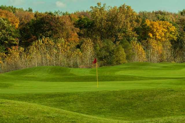 A fall view of a green from Links at Gateway.