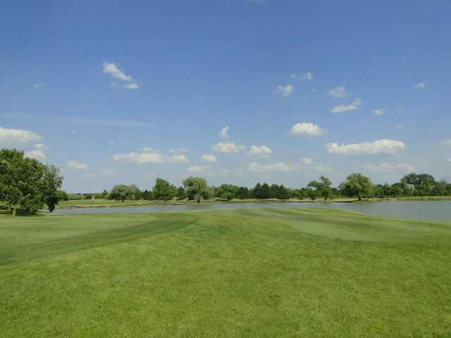 A view of a tee at Odyssey Golf Course
