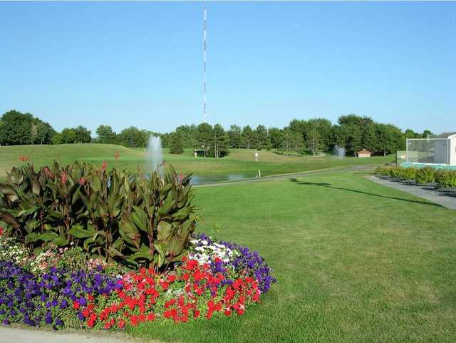 A sunny day view from Island Lake Golf & Training Center
