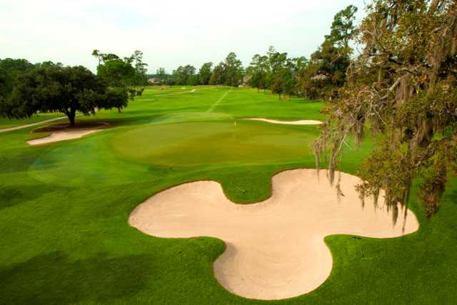 A view of the 17th green at Member Course from Golf Club of Houston