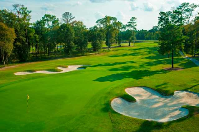 A view of hole #4 flanked by bunkers at Member Course from Golf Club of Houston