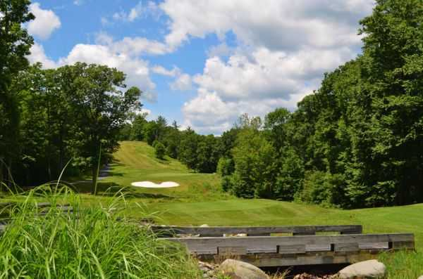 A view over a bridge from Country Club of the Poconos Municipal Golf Course