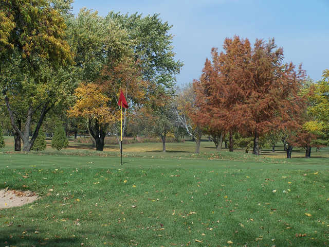 A fall view of a hole at Bloomingdale Golf Course