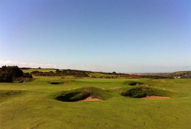 The par-4 15th hole at Southerndown Golf Club is well protected by bunkers