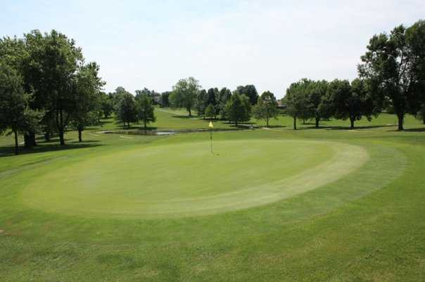 A view of the 18th green at Shirkey Golf Club