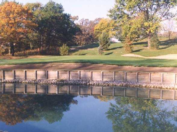 A view over the water of hole #16 at Big Run Golf Club
