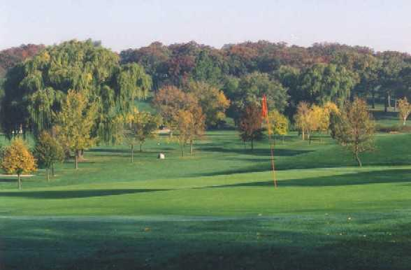 A fall view of the 11th green at Big Run Golf Club