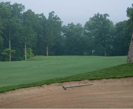 A view over a large bunker at Bear Creek Valley Golf Club