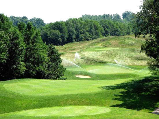 A sunny view from a tee at Deer Ridge Golf Club