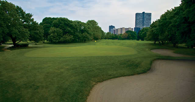A view of a green at Columbus Park Golf Course