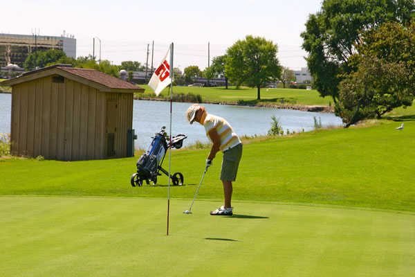 A view of the 12th hole at Lake Park Golf Course