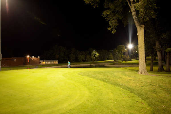 A view of hole #9 at the fully lighted Golf Center Des Plaines Par-3 Course