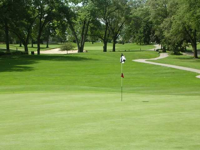 A view of a hole with a narrow path on the right at Silver Lake Country Club