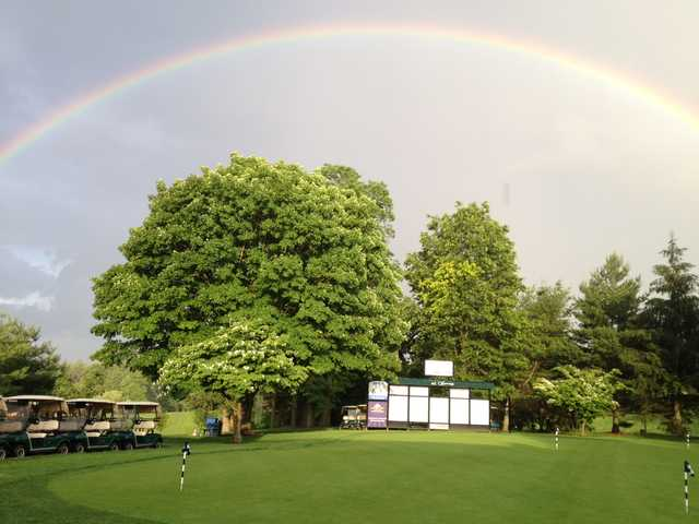 A rainbow over Saxon Woods Golf Course