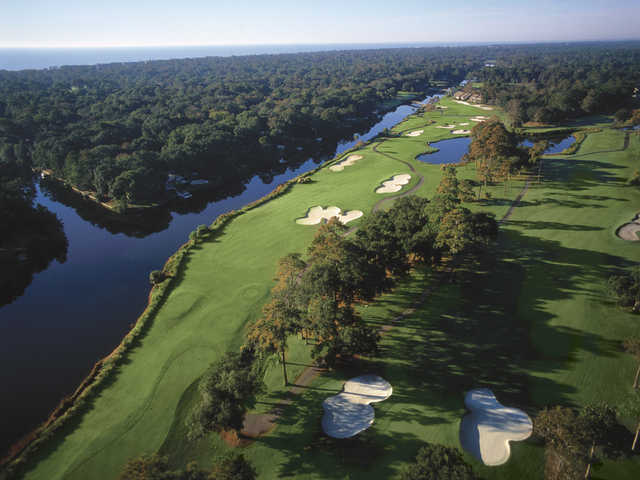 George Fazio Golf Course at Palmetto Dunes Oceanfront Resort, Aerial view of holes #15 and #16.