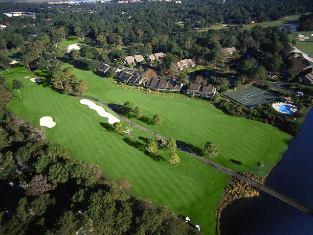 George Fazio Golf Course at Palmetto Dunes Oceanfront Resort, aerial view of Holes #3 and #7.