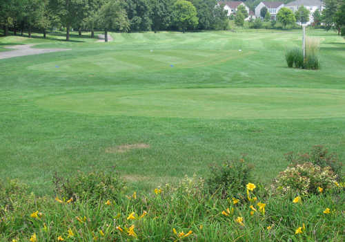 A view of a tee at Streamwood Oaks Golf Club