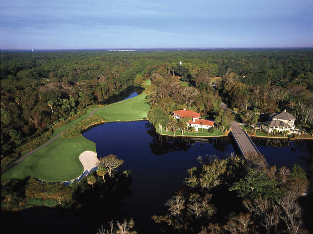 Arthur Hills Golf Course at Palmetto Dunes Oceanfront Resort, Aerial view of hole #16.