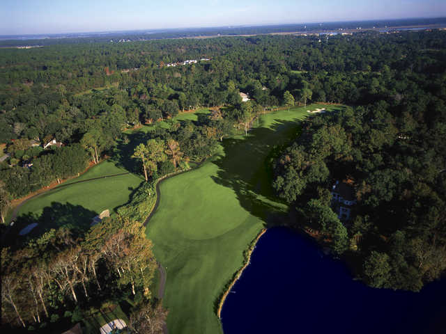 Arthur Hills Golf Course at Palmetto Dunes Oceanfront Resort, Aerial view of holes #13 and #14.