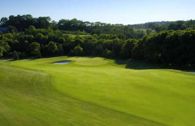 A view from the left side of a fairway at Mystic Golf Club