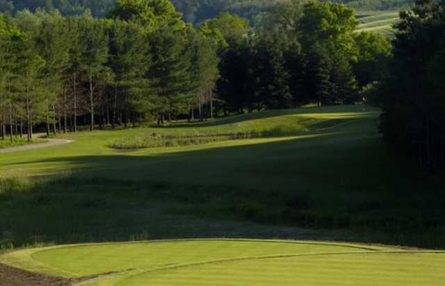 A view from a tee at Mystic Golf Club