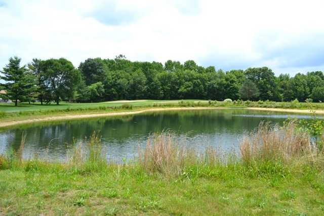 A view over the pond of green #6 at Clearbrook Golf Club