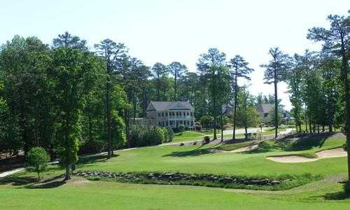 A view of a green from the Preserve at Jordan Lake Golf Club (Golfcaddyonline)