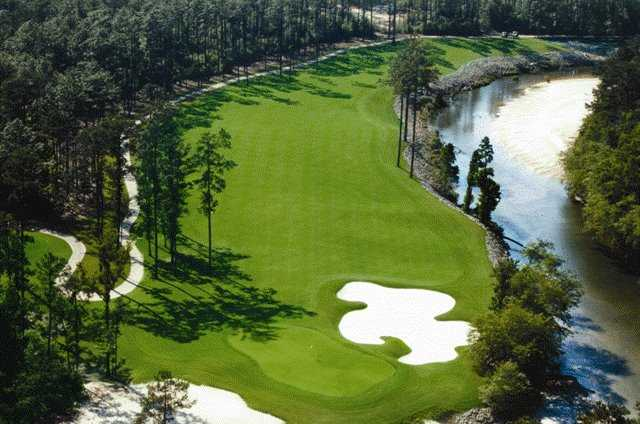 Aerial view of the 17th hole at Grand Bear Golf Course