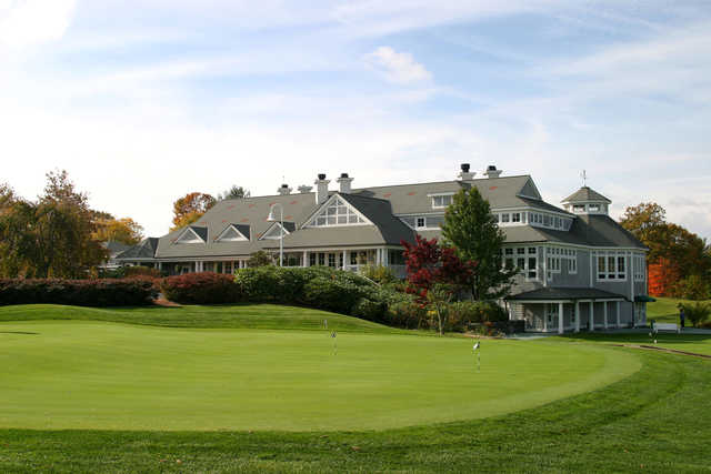 A view of the practice area and the clubhouse at Ridge Club