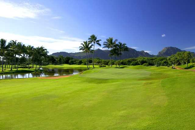 A view of a green at Waikahe Course from Kauai Lagoons Golf Club