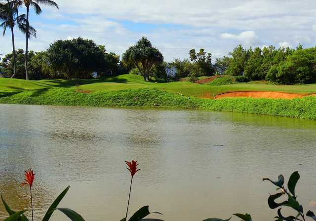 A view over the water from Waikahe Course at Kauai Lagoons Golf Club