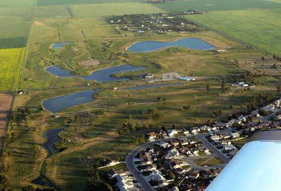 Aerial view from the Bridges at Claresholm Golf Course