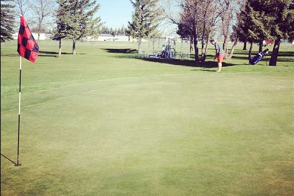 A view of a green at Teton Lakes Golf Course