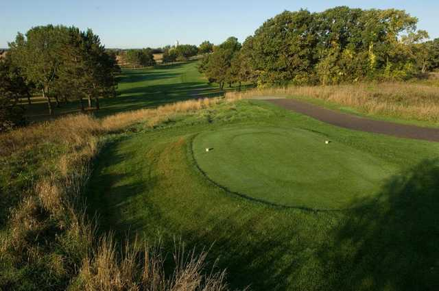 A view of a tee at Bellwood Oaks Golf Course