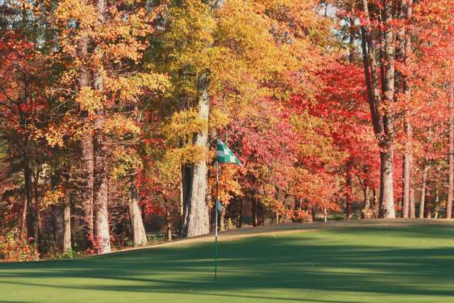 A fall view of a hole at Tradition Golf Club
